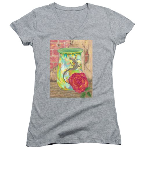 Old Crock And Rose Women's V-Neck T-Shirt (Junior Cut)