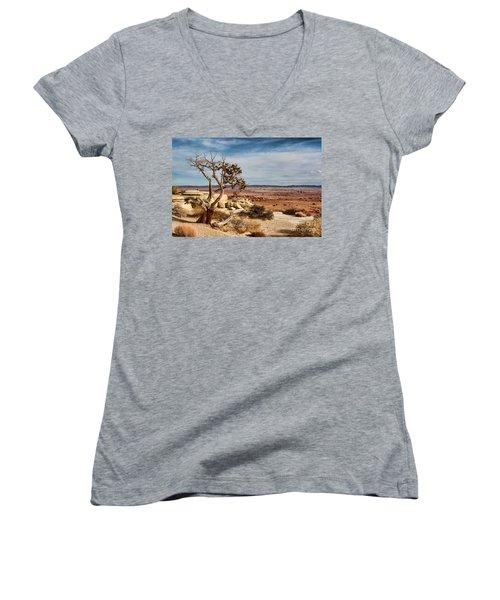 Old Desert Cypress Struggles To Survive Women's V-Neck T-Shirt