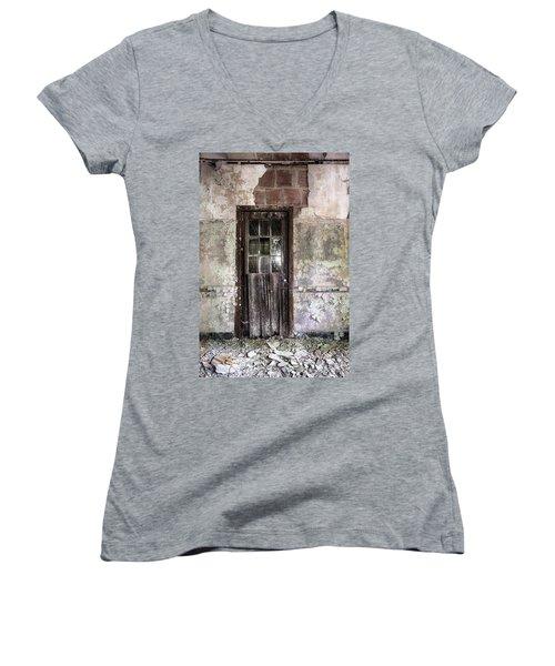 Old Door - Abandoned Building - Tea Women's V-Neck