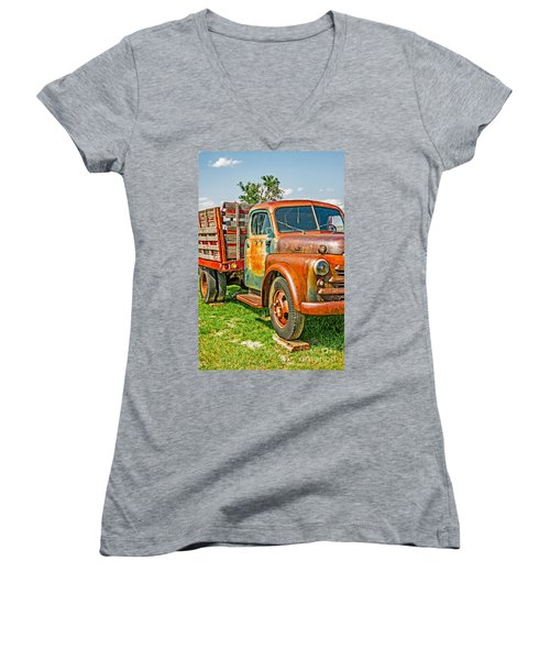 Women's V-Neck T-Shirt (Junior Cut) featuring the photograph Old Dually by Sue Smith