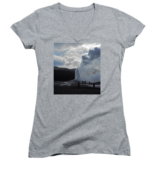 Women's V-Neck T-Shirt (Junior Cut) featuring the photograph Old Faithful Morning by Michele Myers