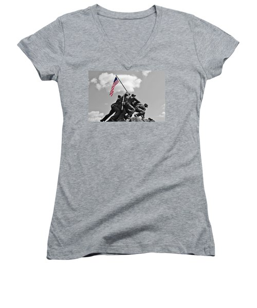 Women's V-Neck T-Shirt (Junior Cut) featuring the photograph Old Glory At Iwo Jima by Jean Goodwin Brooks