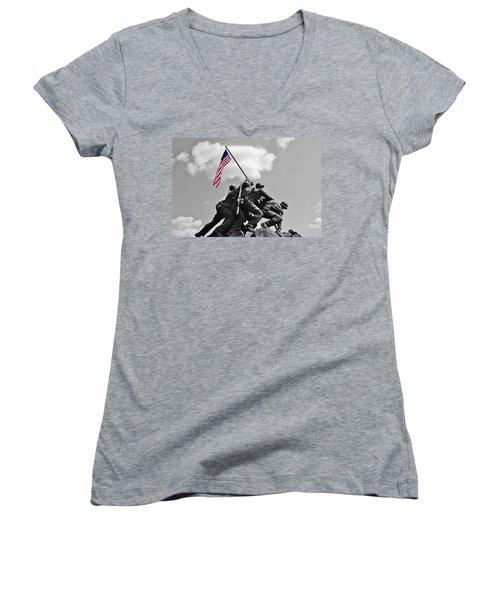 Old Glory At Iwo Jima Women's V-Neck T-Shirt (Junior Cut) by Jean Goodwin Brooks