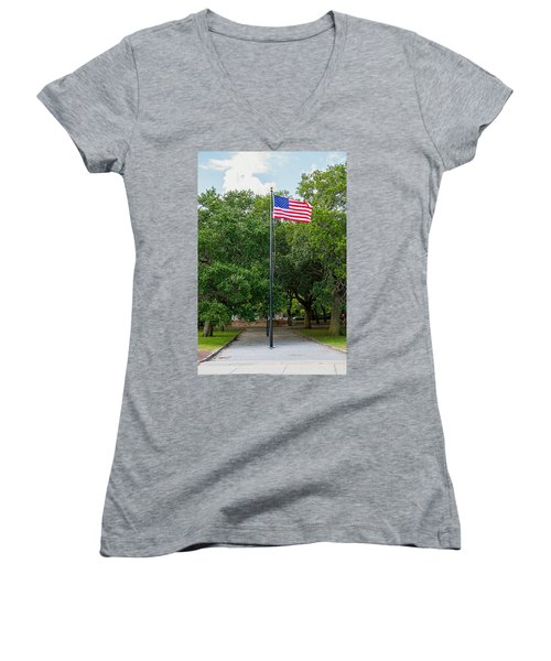 Women's V-Neck T-Shirt (Junior Cut) featuring the photograph Old Glory High And Proud by Sennie Pierson