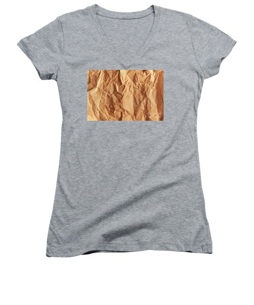 Old Grunge Creased Paper Texture. Retro Vintage Background Women's V-Neck T-Shirt