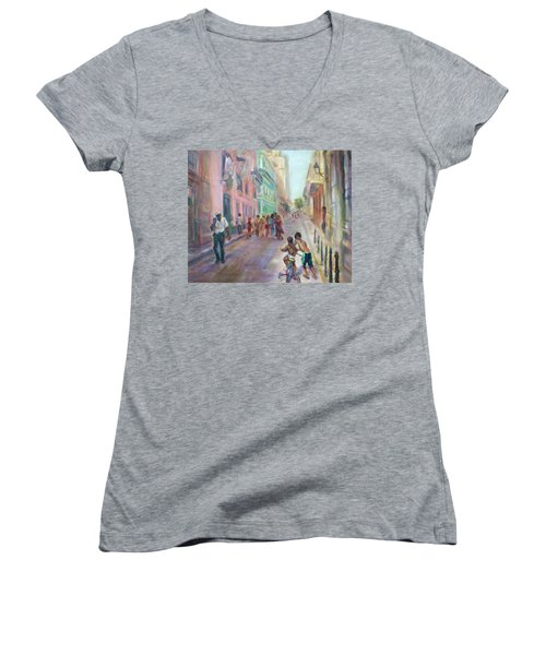 Old Havana Street Life - Sale - Large Scenic Cityscape Painting Women's V-Neck