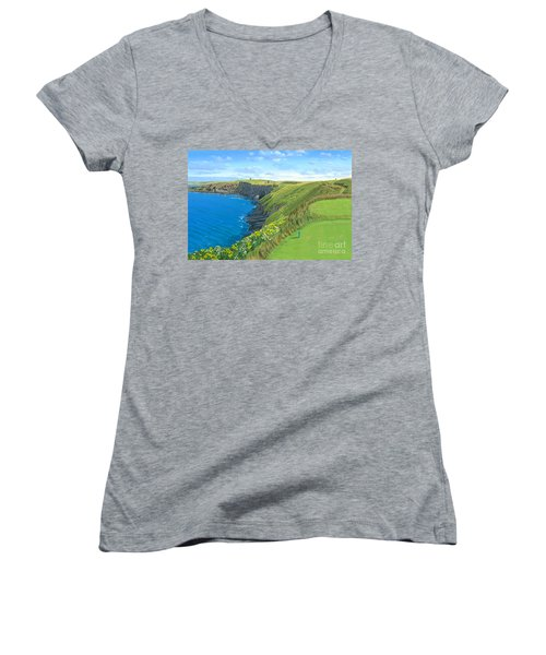 Old Head Golf Club Ireland Women's V-Neck T-Shirt (Junior Cut) by Tim Gilliland