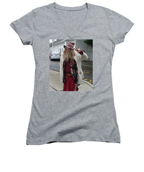 Women's V-Neck T-Shirt (Junior Cut) featuring the photograph Old Hippie In Woodstock Ny  by Anna Ruzsan