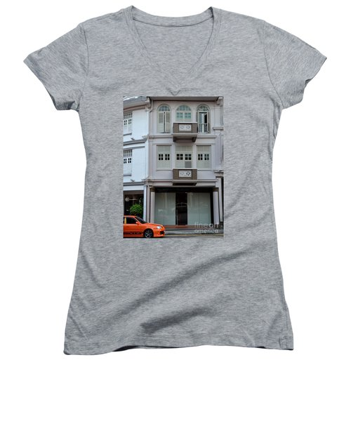 Women's V-Neck T-Shirt (Junior Cut) featuring the photograph Old House And Funky Orange Car by Imran Ahmed