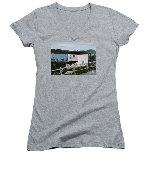 Old House - If Walls Could Talk Women's V-Neck T-Shirt (Junior Cut) by Barbara Griffin