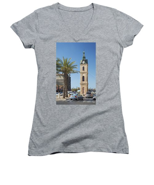 Old Jaffa Clocktower In Tel Aviv Israel Women's V-Neck (Athletic Fit)