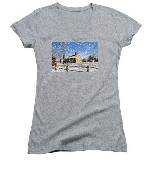 Old Kansas Schoolhouse Women's V-Neck T-Shirt (Junior Cut) by Liane Wright
