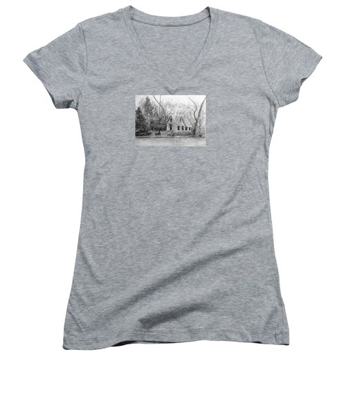 Old Library On Lake Afton - Winter Women's V-Neck T-Shirt (Junior Cut) by Loretta Luglio