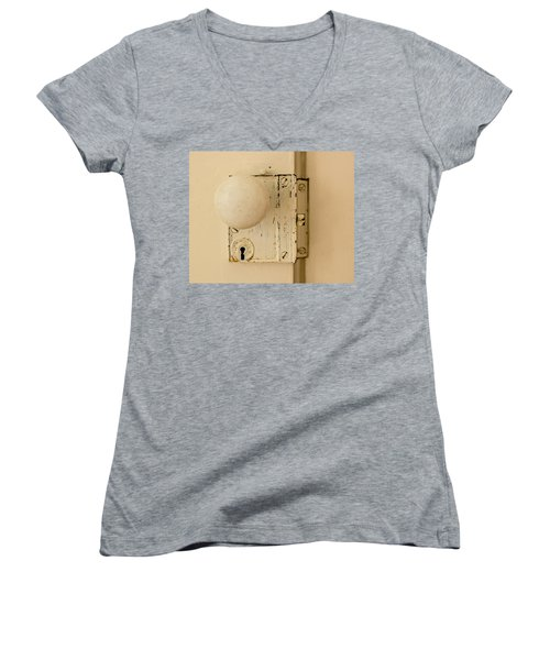 Old Lock Women's V-Neck T-Shirt (Junior Cut) by Photographic Arts And Design Studio