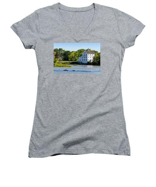 Old Mill On Grand River In Caledonia In Ontario Women's V-Neck