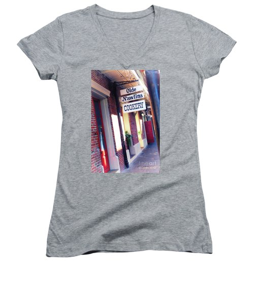 Women's V-Neck T-Shirt (Junior Cut) featuring the photograph Old Nawlins by Erika Weber