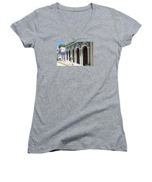 Old San Juan Street Women's V-Neck T-Shirt (Junior Cut) by The Art of Alice Terrill