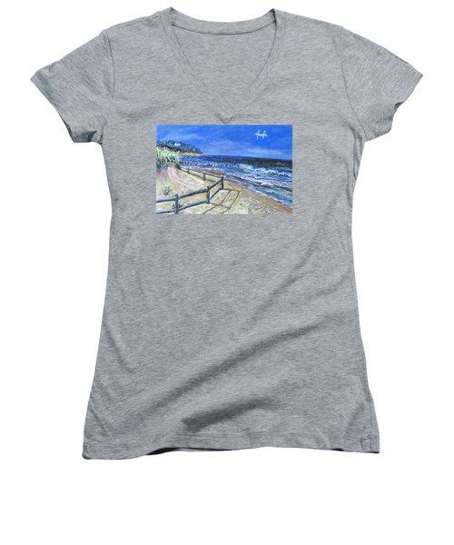 Old Silver Beach Women's V-Neck T-Shirt (Junior Cut) by Rita Brown
