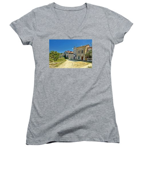 Old Streets Of Susak Island Women's V-Neck T-Shirt (Junior Cut) by Brch Photography