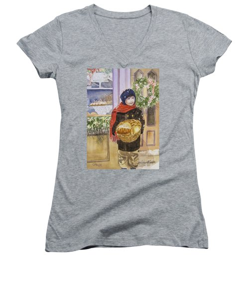 Old Time Christmas Women's V-Neck T-Shirt (Junior Cut)
