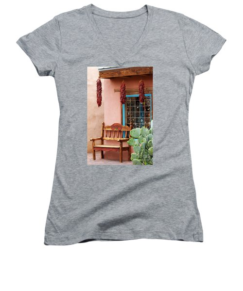 Old Town Albuquerque Shop Window Women's V-Neck T-Shirt (Junior Cut) by Catherine Sherman