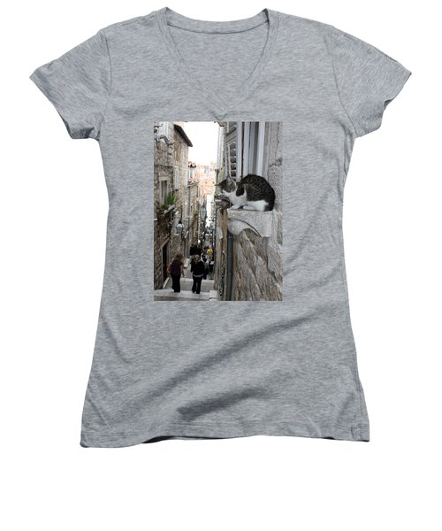 Old Town Alley Cat Women's V-Neck T-Shirt (Junior Cut) by David Nicholls