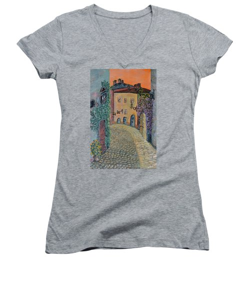 Women's V-Neck T-Shirt (Junior Cut) featuring the painting Old Town In Piedmont by Felicia Tica