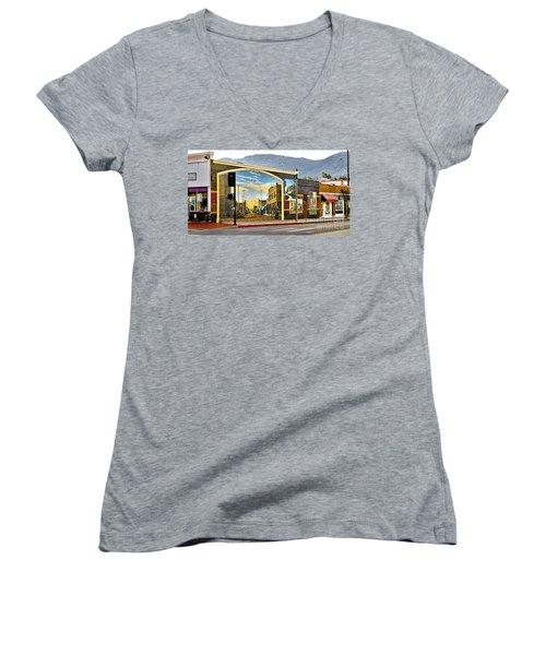 Old Town Mural Women's V-Neck T-Shirt (Junior Cut) by Jason Abando