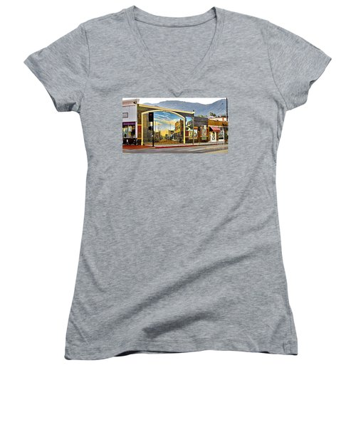 Old Town Mural Women's V-Neck (Athletic Fit)