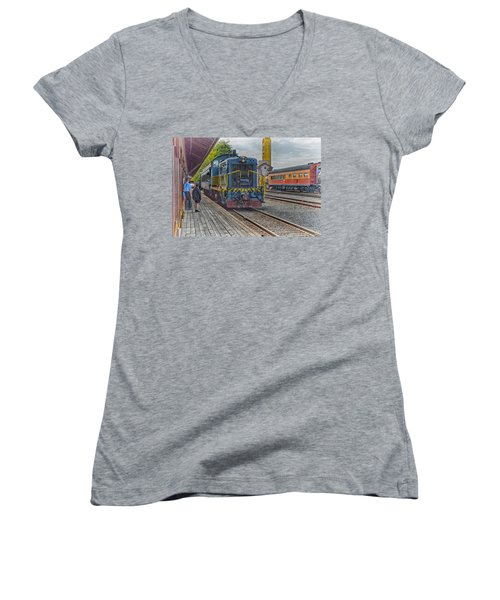 Old Town Sacramento Railroad Women's V-Neck T-Shirt (Junior Cut) by Jim Thompson