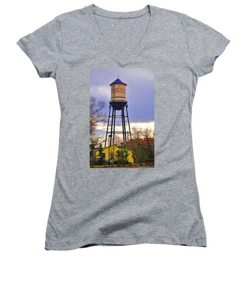 Old Towne Arvada Women's V-Neck T-Shirt (Junior Cut) by David Pantuso