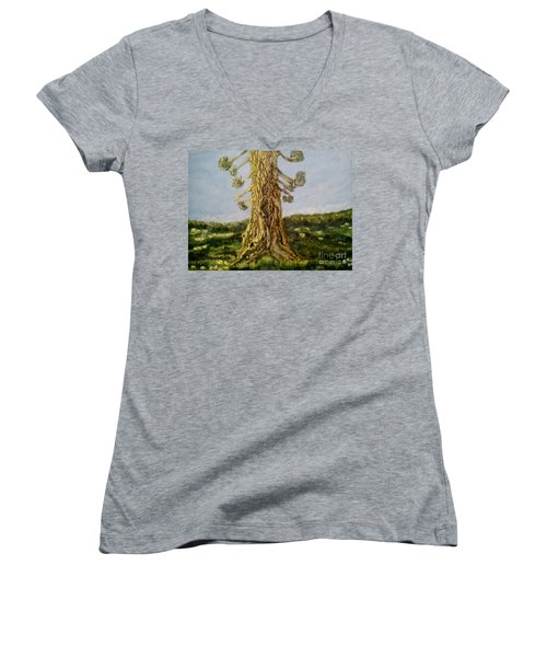 Old Tree In Spring Light Women's V-Neck (Athletic Fit)