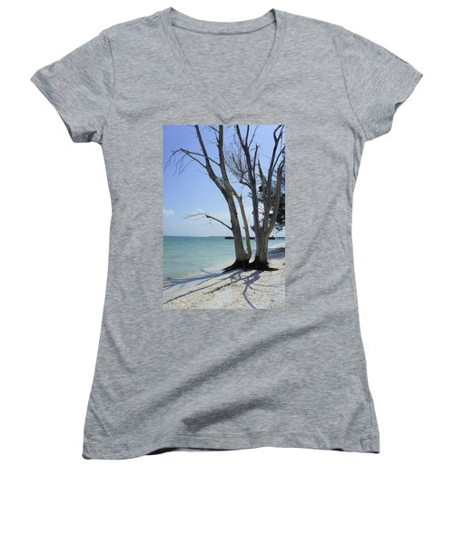 Women's V-Neck T-Shirt (Junior Cut) featuring the photograph Old Tree by Laurie Perry