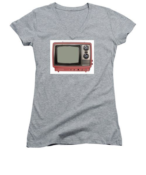 Vintage Tv Set Women's V-Neck T-Shirt (Junior Cut) by Les Palenik