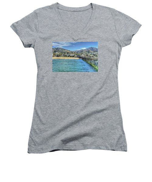 Old Ventura City From The Pier Women's V-Neck (Athletic Fit)