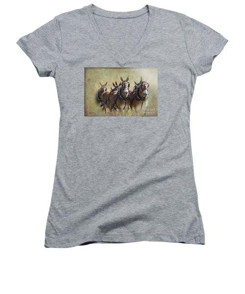 Old West Mule Train Women's V-Neck (Athletic Fit)