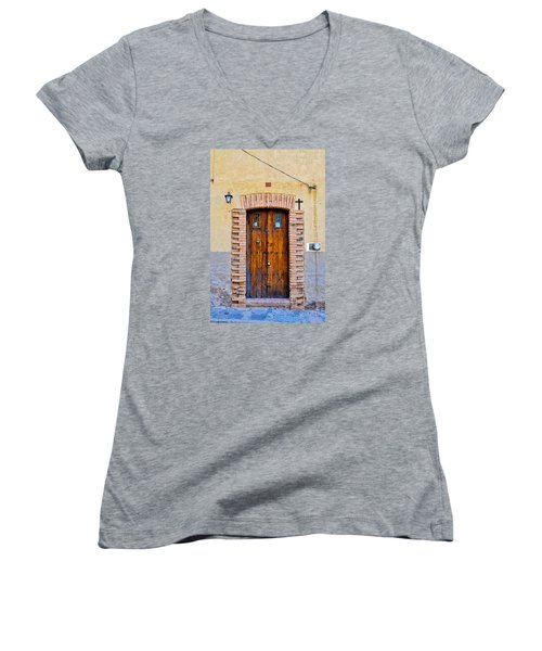Old Wooden Door - Mexico - Photograph By David Perry Lawrence Women's V-Neck T-Shirt (Junior Cut) by David Perry Lawrence