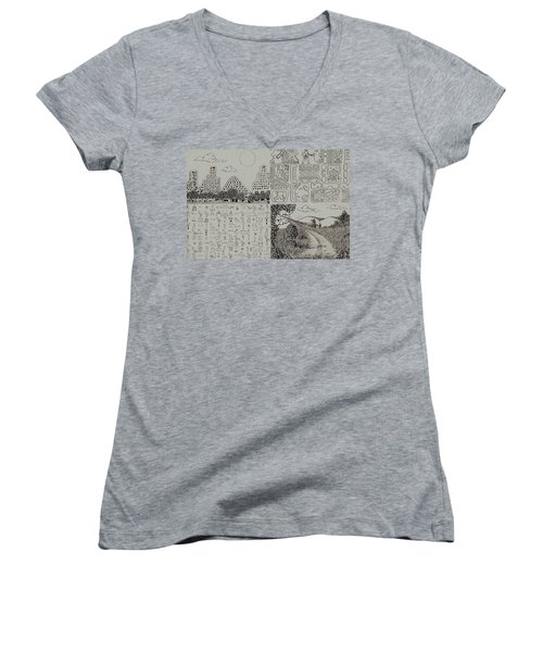 Old World New World Women's V-Neck T-Shirt