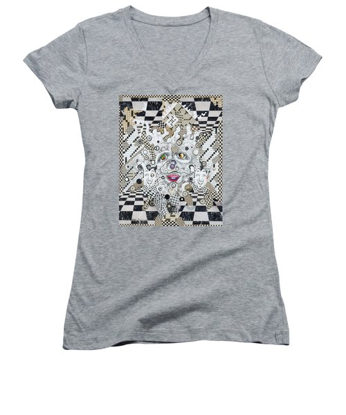Women's V-Neck T-Shirt (Junior Cut) featuring the mixed media Olive Eyes by Douglas Fromm