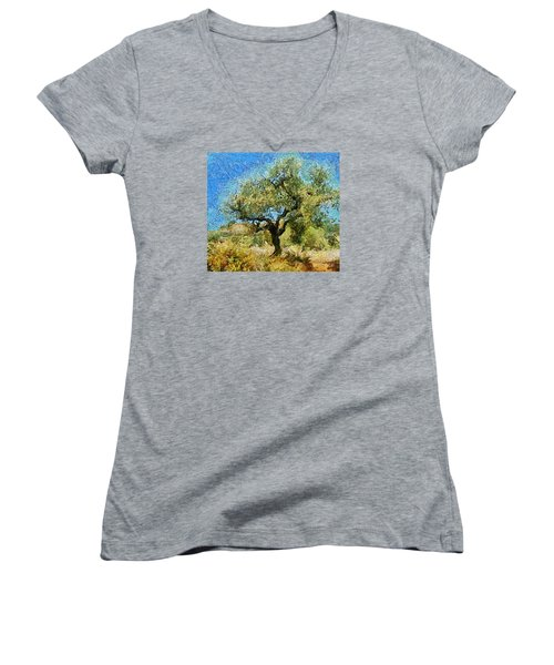 Olive Tree On Van Gogh Manner Women's V-Neck T-Shirt (Junior Cut) by Dragica  Micki Fortuna