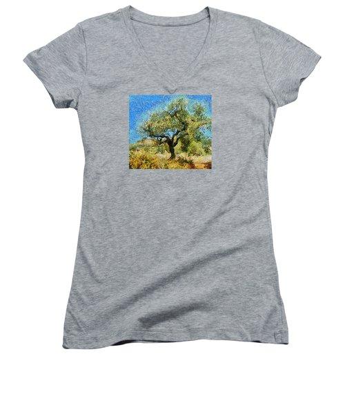 Olive Tree On Van Gogh Manner Women's V-Neck T-Shirt (Junior Cut)