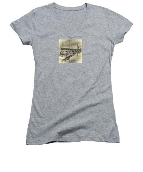 Women's V-Neck T-Shirt (Junior Cut) featuring the photograph Olympia Marina 3 by Jean OKeeffe Macro Abundance Art