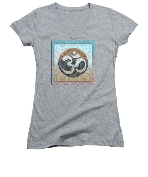 OM Women's V-Neck T-Shirt (Junior Cut) by Richard Laeton
