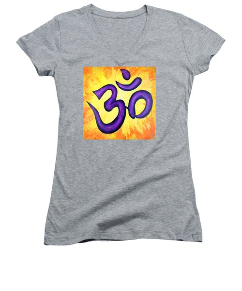 Women's V-Neck T-Shirt (Junior Cut) featuring the painting Om Symbol Art Painting by Bob Baker
