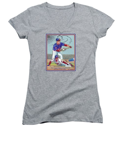 Omar Vizquel Shortstop Magic Women's V-Neck T-Shirt (Junior Cut) by Ray Tapajna