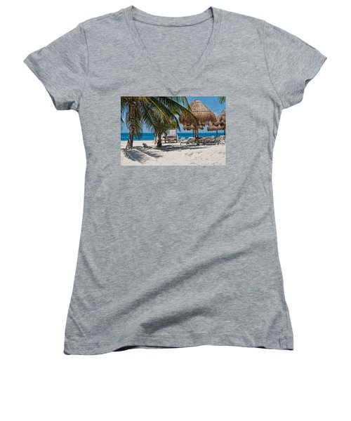 White Sandy Beach In Isla Mujeres Women's V-Neck (Athletic Fit)