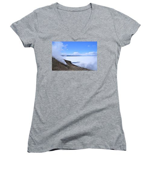 Women's V-Neck T-Shirt (Junior Cut) featuring the photograph On The Edge Of Lake Yellowstone by Michele Myers