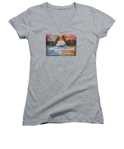 On The Hour. The Sailboat And The Steel Bridge Women's V-Neck T-Shirt