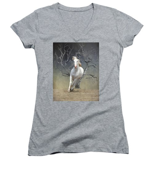 On The Run Women's V-Neck T-Shirt (Junior Cut) by Davandra Cribbie