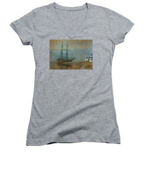On The Water Women's V-Neck T-Shirt (Junior Cut) by Jeff Burgess